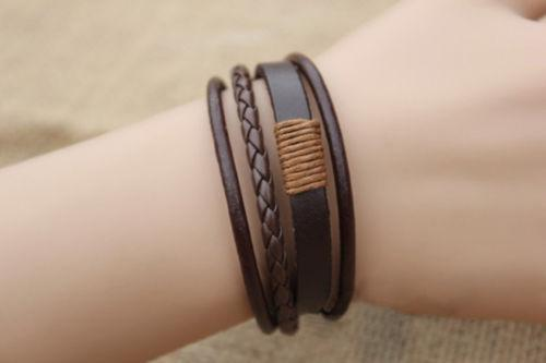 Кожаный браслет с плетением «Natural» (коричневый)