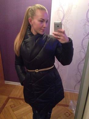 Удлиненная женская куртка с тонким поясом, фото 2