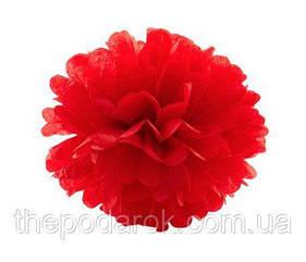 Декор бумажные помпоны (красный) 40 см
