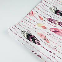 """Отрез ткани №629а бязь, расцветка """"Перья с бусинами"""" в розово-фиолетовых тонах"""