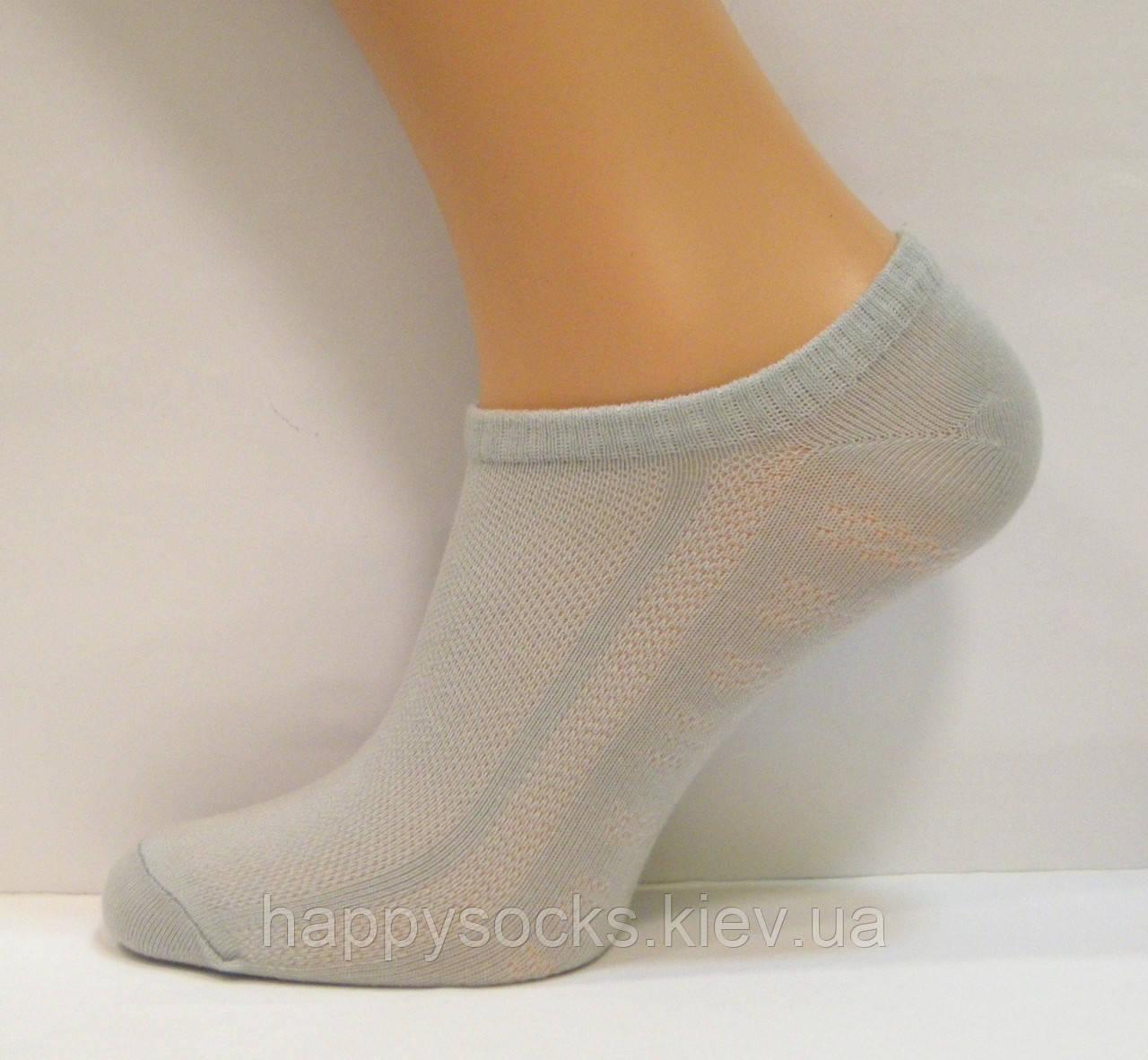 Носки в сетку женские серого цвета низкие