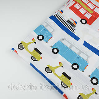 "Отрез ткани №721а ""Все виды транспорта"", разноцветнаяразмер 75*160"