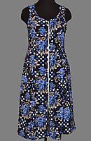 Женский халат больших размеров длинный (100% хлопок) фасон сарафан на молнии Украина