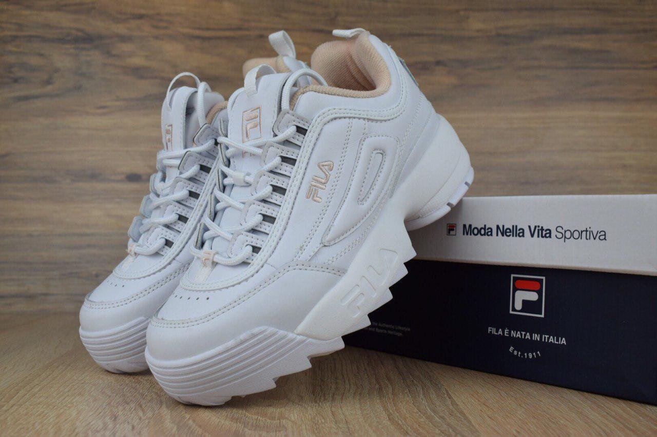 Женские белые стильные кроссовки Fila (2545)   продажа, цена в ... 1bf94c7030f