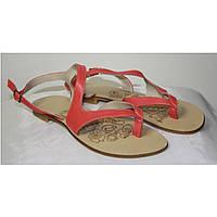 Босоножки Woman's heel кожаные 40 коралловые (О-535)