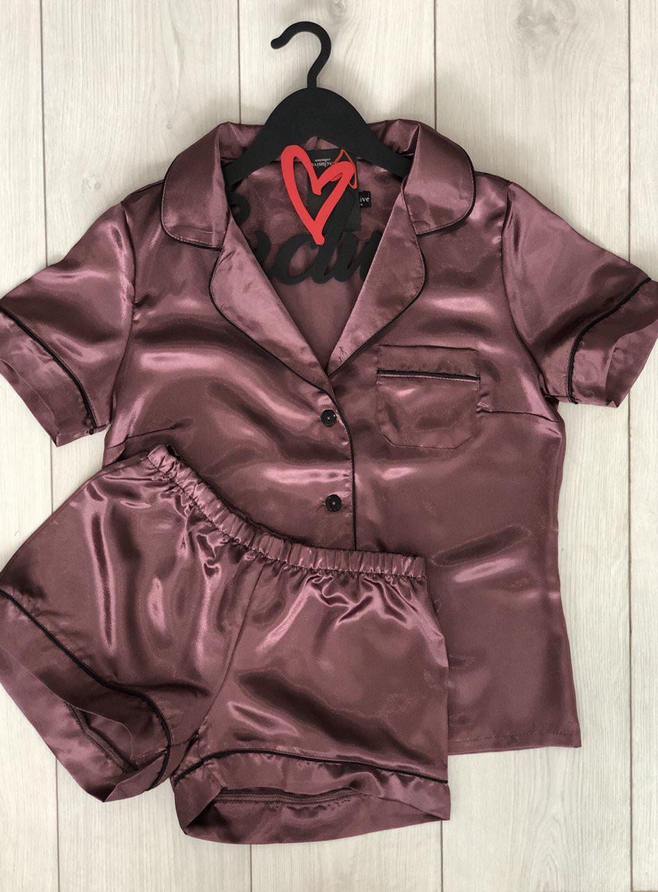 Пижама комплект шорты и майка из атласа серо-розового цвета