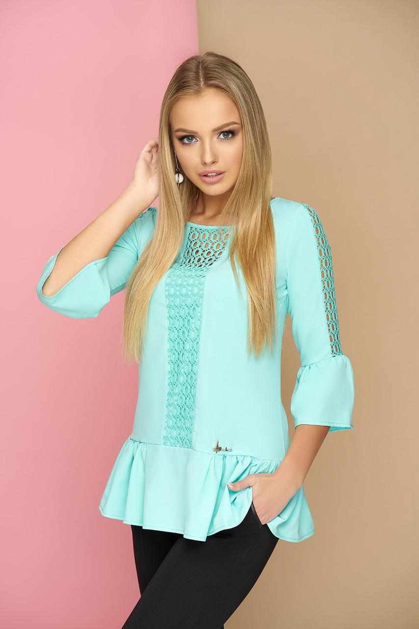 """Стильная женская блуза с рюшами и гипюровыми вставками """"Мьюзик"""" (ментолового цвета)"""