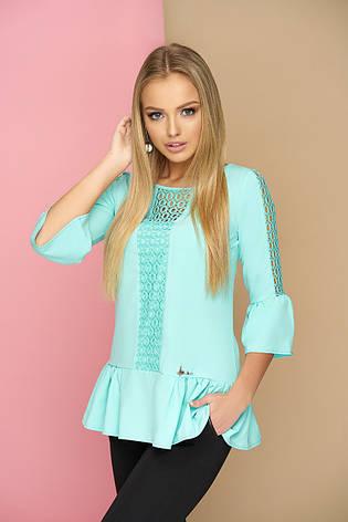 """Стильная женская блуза с рюшами и гипюровыми вставками """"Мьюзик"""" (ментолового цвета), фото 2"""