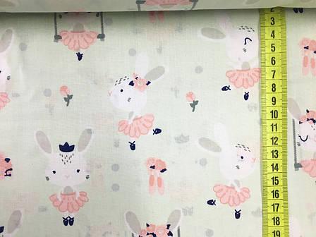 """Польская хлопковая ткань """"кролики балерины на светло-мятном"""", фото 2"""