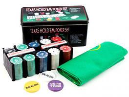 Покерный набор на 200 фишек с номиналом в металлической коробке (Техасский Холдем, Покер)