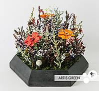 Композиция из стабилизированных цветов и растений «Flowerbed»