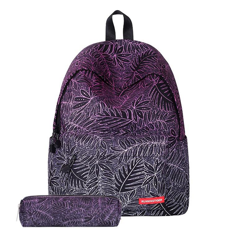 Шкільний рюкзак з принтом листя + пенал