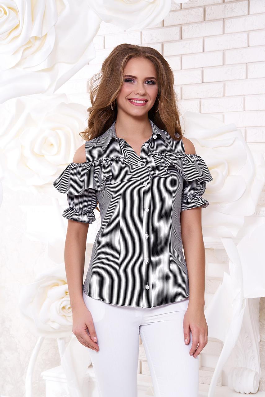 """Блуза """"Урана"""" 2 с открытыми плечами и воланом (размер - L)"""