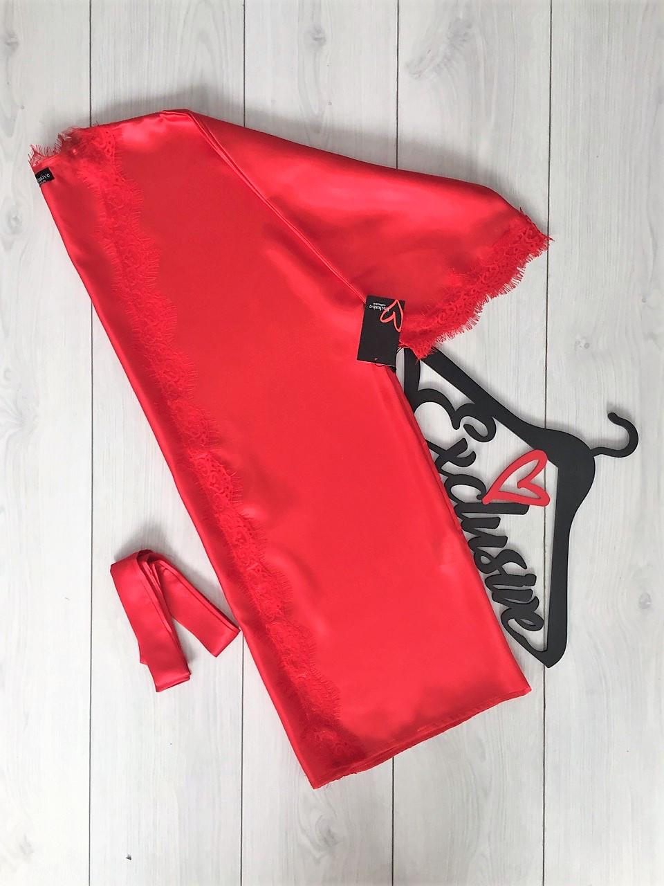 Красный атласный халат с кружевом, одежда для дома