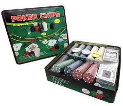 Покерный набор на 500 фишек с номиналом в металлической коробке (Техасский Холдем, Покер)