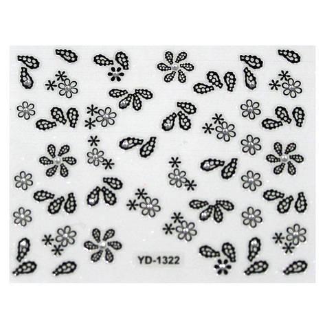 KATTi Наклейки клейкие Crystal Black/White YD 1322 ч/б стразы , фото 2