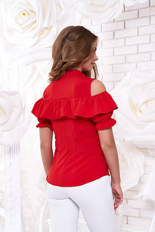 """Яркая женская блуза """"Урана"""" с открытыми плечами и воланом (красная), фото 2"""