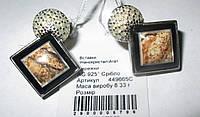 """Элегантные серебряные серьги с пейзажной яшмой """"Пески времени"""" от студии LadyStyle.Biz, фото 1"""