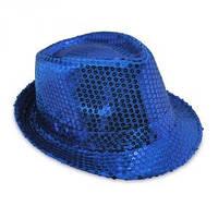 Шляпа Диско в пайетки синяя