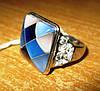 """Контрастное серебряное кольцо с перламутром """"Голубая мозаика"""", размер 17,5 от студии LadyStyle.Biz"""