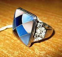 """Контрастное серебряное кольцо с перламутром """"Голубая мозаика"""", размер 17,5 от студии LadyStyle.Biz, фото 1"""