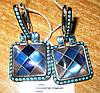 """Контрастные серебряные серьги с перламутром """"Голубая мозаика"""" от студии LadyStyle.Biz"""