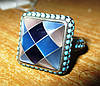 """Контрастное серебряное кольцо с перламутром """"Голубая мозаика"""", размер 18 от студии LadyStyle.Biz"""
