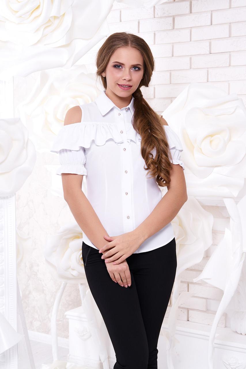 """Яркая блуза """"Урана"""" с открытыми плечами и воланом (белого цвета, в размере L)"""