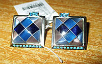 """Контрастные серебряные серьги с перламутром """"Голубая мозаика"""" от студии LadyStyle.Biz, фото 1"""
