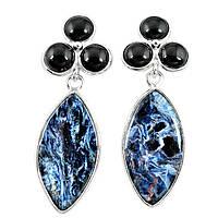 """Серебряные серьги-гвоздики с петерситом и ониксом  """"Маркиз"""", от Студии  www.LadyStyle.Biz, фото 1"""