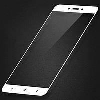 Стекло защитное для телефона Xiaomi Redmi 4X Full Glue 5D, белое, 0.2mm с полной проклейкой