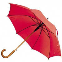 Красный зонт-трость полуавтомат, 9 цветов, с нанесением логотипов, для подарка и в рекламных целях