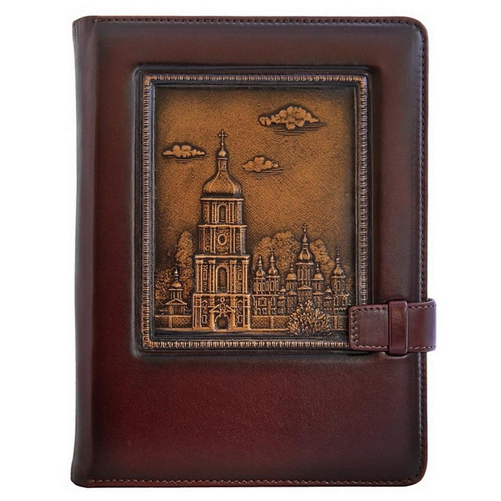 """Ежедневник кожаный А5 """"Софийский Собор """". Цвет коричневый."""