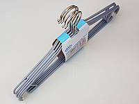 Плечики металлические в силиконовом покрытии серебристого цвета, 42 см, 5 штук в упаковке