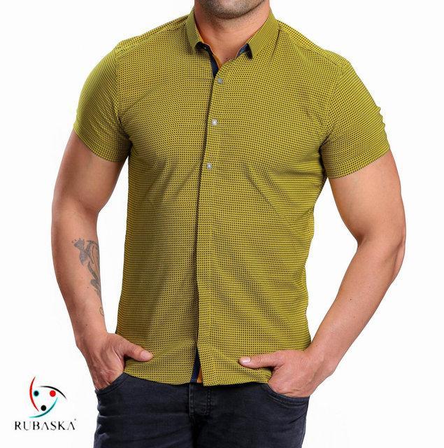 Мужская рубашка на короткий рукав салатового цвета