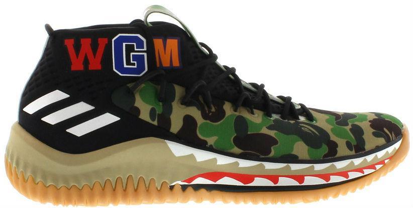 Bape X Adidas Dame 4 Camo Green кроссовки мужские камуфляжные