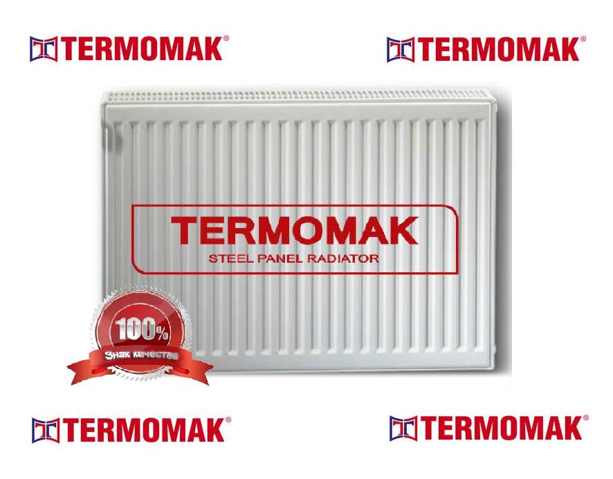 Стальной Радиатор отопления (батарея) 500x900 тип 22 Termomak (боковое подключение)