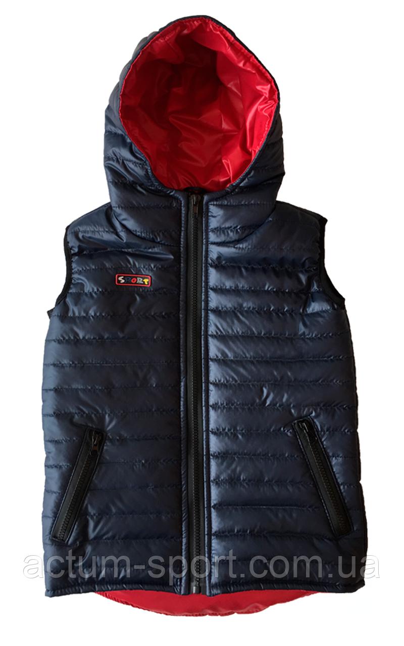 Детский жилет с капюшоном Т.сине/красный, 110