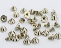 Шипы металлические на винте 9x6 мм, серебро, фото 1