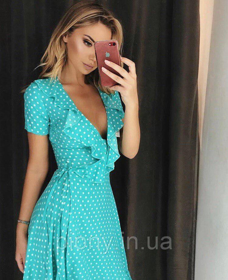 b877f384659 Женское Летнее платье из рюшами в горошек  продажа