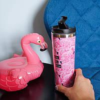Термокружка летняя крутой подарок подруге сестре девушке Flamingo фламинго, фото 1