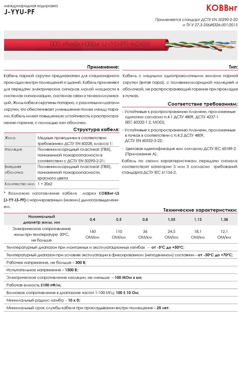 КОВЕВнг (J-2Y(St)YU-PF) 1х2х1,05 мм