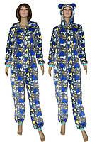 Пижама кигуруми женская махровая (комбинезон) с ушками 03628 Gulliver Blue, р.р.40-48