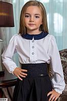 Школьная детская блузка с длинным рукавом на резинке, белая
