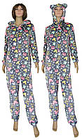 Пижама кигуруми женская махровая (комбинезон) с ушками 03628 Gulliver Pink, р.р.40-48
