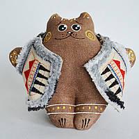 Кофейный кот в кожушке сидячий. Украинский сувенир., фото 1