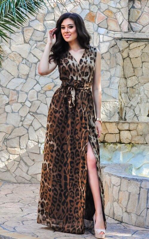 Платье женское длинное с леопардовым принтом (К5616)