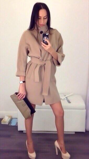 Пальто женское с поясом (К6950)