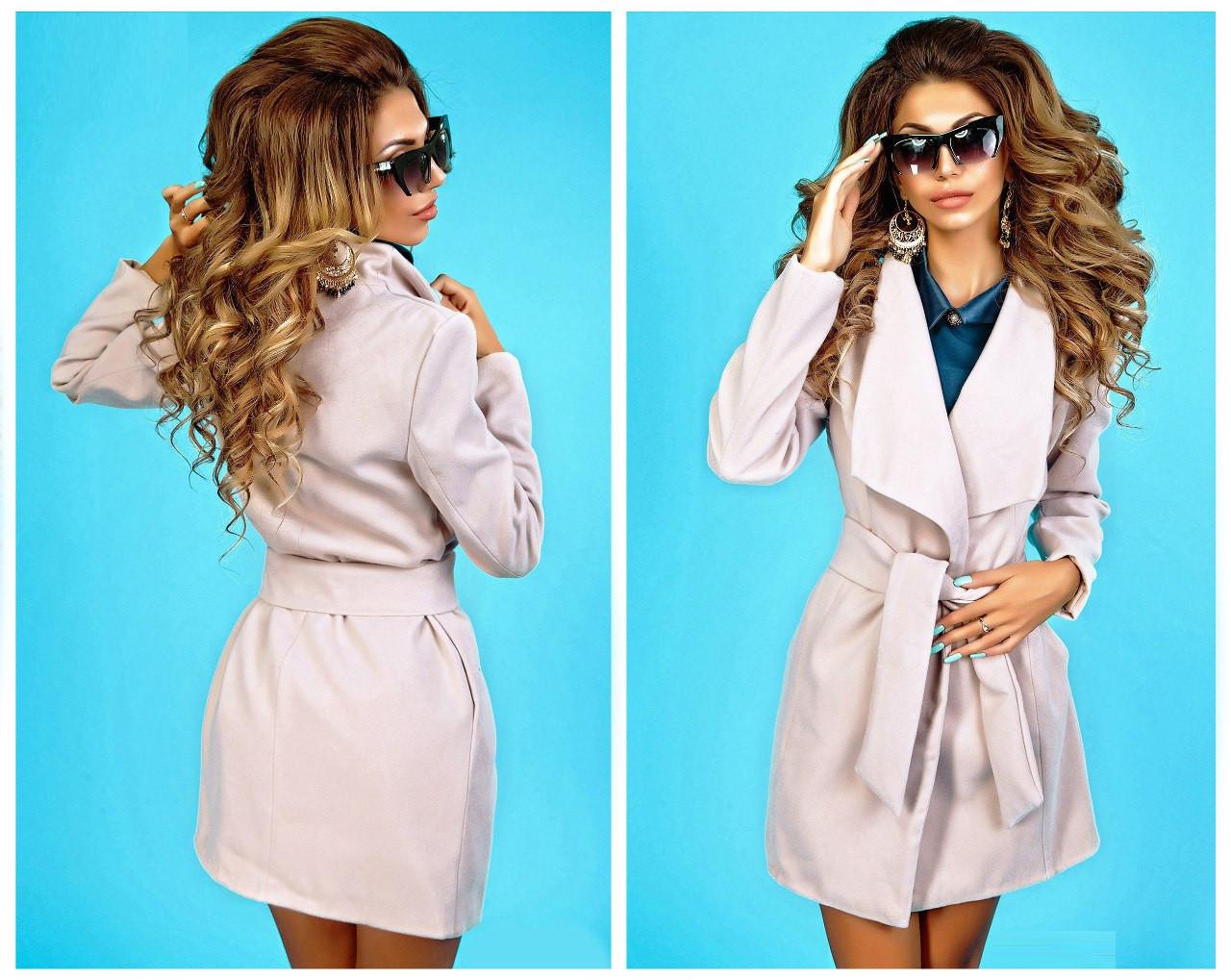 Пальто женское с отложным воротником (К7183)