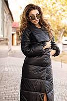 Куртка женская длинная с высоким воротником (К8125), фото 1